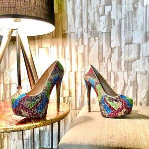 Steve Madden 💕Rhinestone Platform Heels sz 8